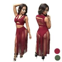New Sexy Women Two Piece Outfit Bandage Crop Top Tassel Bodycon Party Long Dress