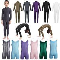 Kids Girls Ballet Dance Leotard Long Sleeve Jumpsuits Sports Bodysuits Costumes