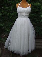 Stunning Vintage 1950s Halter Neck Boned Spotted Net Wedding Dress