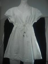 Urbane Ladies Tunic Top in White with Waist Tie and Trim Size 12