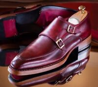 Handmade burgundy monk strap shoes, men good year welted sole shoes