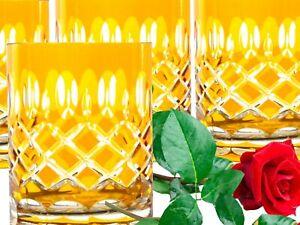 Bleikristall Whisky Gläser Römer 6x(298 GE) yellow gelbe Kristall Whiskygläser