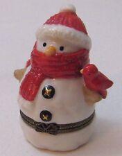 Vtg Dept 56 Ceramic Mini Snowman LET IT SNOW Trinket Box Red Scarf Handpainted