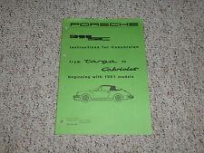 1981 Porsche 911SC 911 SC Targa Cabriolet Convertible Top Service Manual 1982