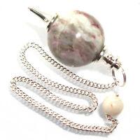 Rubellite Tourmaline in Quartz Ball Dowsing Pendulum Crystal Healing Stone