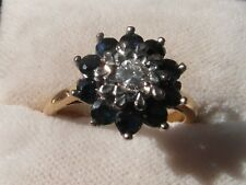 Q118 Ladies 18ct gold Sapphire and Diamond cluster engagement ring size K