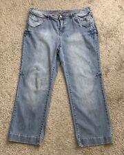 "ZANA DI Womens Size 22 Denim Blue Jeans Embellished 30.5"" Inseam Ramie Blend"