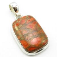 Genuine Orange Copper Turquoise Pendant for Necklace Sterling Silver Women Art