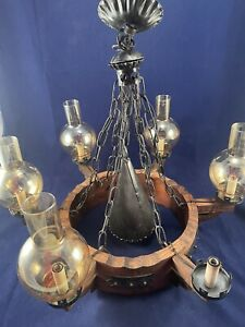 Wrought Iron wood Chandelier Medieval Gothic Castle Colonial missing 1 glass