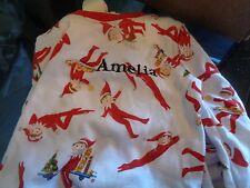 "Pottery Barn Kids Christmas Elf on the Shelf tight fit pajamas 2T mono ""Amelia"""