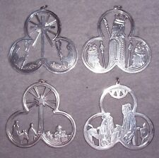1972-1975 Lunt Sterling Silver Trefoil Xmas Ornament Medallion Complete SET 4
