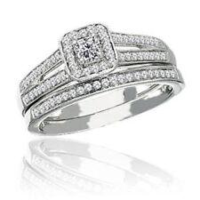 Anillos de joyería con diamantes en oro blanco de boda de 10 quilates