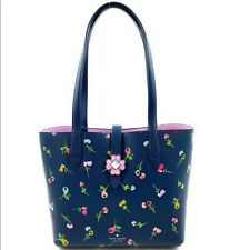 KATE SPADE KACI SMALL TOTE SHOULDER BAG NAVY BLUE WILDFLOWER DITSY