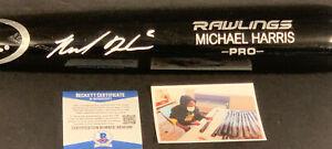 Michael Harris Atlanta Braves Auto Signed Engraved Bat Black Beckett COA .