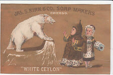 Jas S Kirk Soap White Ceylon Polar Bear Fur Coats Muff Vict Card c 1880s