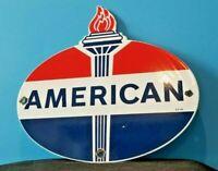 VINTAGE AMERICAN GASOLINE PORCELAIN GAS SERVICE STANDARD TORCH PUMP PLATE SIGN