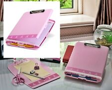 Clipboard Box Slim Folder Pink Papers Forms Notepads Holder Pens Storage Office