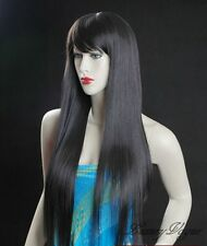 "40"" Silky STRAIGHT BLACK WIGS HAIR PERRUQUE 93L#2"