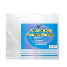 50 (5 packs of 10) STRONG A3 LANDSCAPE CLEAR POLY POCKET PUNCHED PLASTIC WALLET