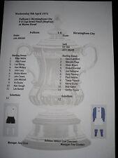 1974-75 F A Cup Semi Final (Replay) Fulham v Birmingham City Matchsheet