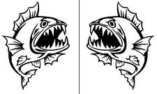 2 x ANGRY FISH stickers for your fishing boat or car MANGROVE JACK DECAL 25cm