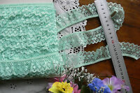 Gathered Lace with Binding Edge MAGIC MINT 34mm Wide 5 Metres GaHg