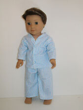 """Blue Stripe Pajamas for 18"""" Boy Doll Clothes American Girl"""