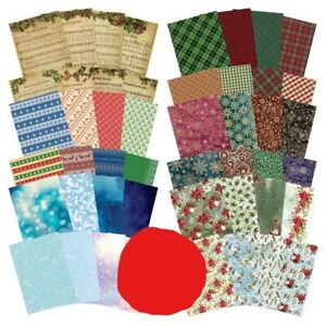 8 x A4 Sheets Hunkydory Adorable Scorable Christmas Patterned Card 350gsm NEW