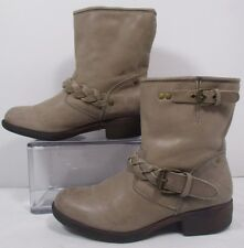 Report Bernsen Beige Leather Pull On Ankle Boots Sz 6M