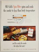 1960 Print Ad Old Gold Spin Filters Cigarettes Fancy Shotgun on Table
