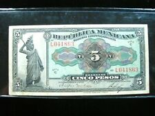 MEXICO 5 PESOS 1915 SERIE C PS685 MEXICAN 863# CURRENCY BANKNOTE MONEY