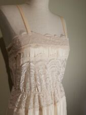 Sheer Madness By Cira Vintage Peach Apricot Nylon & Lace Long Nightgown New Sm.