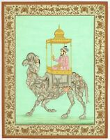 Indian Miniature Painting Mughal Emperor Aurangzeb Seated On A Composite Camel