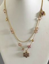 Betsey Johnson Pink Flower & Hearts Double Illusion Necklace. Adjustable