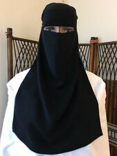 SINGLE LAYER BLACK NIQAB WITH NOSE CORD, ONE LAYER NIKAB, VEIL FOR FACE
