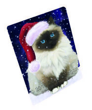Let it Snow Christmas Holiday Birman Cat Tempered Cutting Board Large Db356