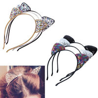 Fashion Girls Metal Rhinestone Cat Ear Headband Hair band Costume Party Cosplay