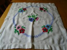 VINTAGE HAND EMBROIDERED LINEN CUSHION COVER - UNUSED