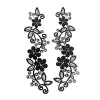 EE_ 2PCS LACE EMBROIDERY APPLIQUE CLOTHES NECKLINE TRIM DIY SEWING PATCH ALLURIN