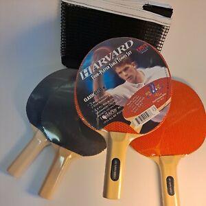 Harvard Ping Pong Table Tennis Paddles Set of 4 Red/Black- New sealed plus net