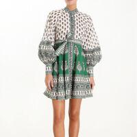 Vintage Grün Muster Stehkragen Kleid Laterne Ärmel Flachs Damenmode Kleider