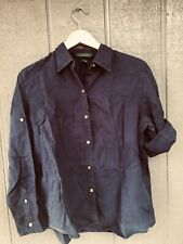 Ralph Lauren Linen Shirt Blue w/ Gold Buttons Size Large Roll Tab Sleeves
