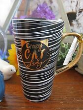 New Sassy Stripes Crazy Cat Lady Travel Mug Ceramic Coffee Latte Tea 13oz w/Lid