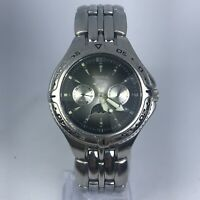 Fossil Mens BQ 9138 Blue Day Night Sun & Moon Phase Stainless Steel Watch
