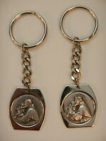 Religious Lot of 2 St. Christopher Keychains Key Ring Key Fob Vintage Metal
