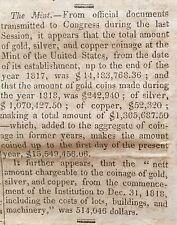 1819 newspaper w US MINT ASSETS output of GOLD copper SILVER coins  NUMISMATICS
