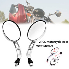 2X 10mm Motorcycle Universal CNC Aluminum Oval Chrome Rear View Side Mirrors Kit
