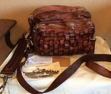 Campomaggi Brown Leather Purse Crossbody Large Pockets Distressed Basket Weave