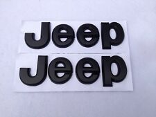 PAIR Black Jeep Logo Emblems Custom Cherokee Wrangler XJ CJ TJ New Free Shipping
