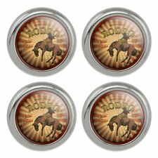 Rodeo Cowboy Vintage Horse Riding Bucking Metal Craft Sewing Buttons - Set of 4